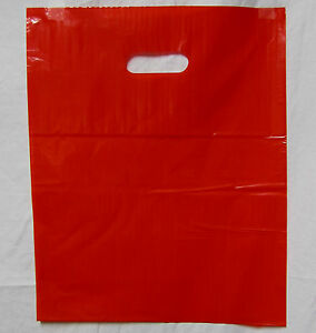 100 20 X 20 X 5 New Red Glossy Low density Premium Plastic Merchandise Bags