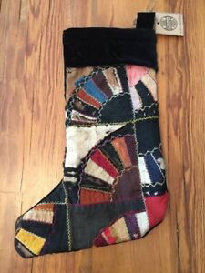 Vintage Antique Crazy Quilt Stocking Black Velvet Back Christmas Holiday Ooak