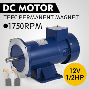 Dc Motor 1 2hp 56c Frame 12v 1750rpm Tefc Magnet Durable Continuous Grease