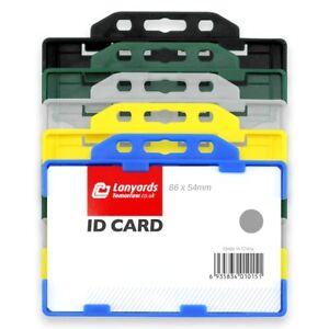 100x Twin Sided Horizontal Colour Open Faced Plastic Rigid Badge Id Card Holder