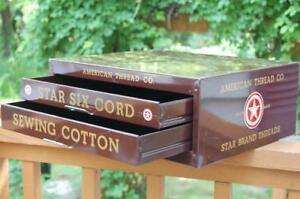 Antique American Thread Co Star Six Spool Thread Metal Sewing Cabinet 2 Drawers