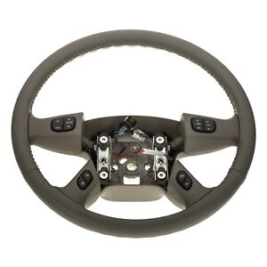 Oem New Leather Wrapped Steering Wheel W Controls 03 07 Chevrolet Gmc 10364743