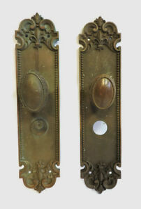 Antique Massive Brass Front Entry Door Knob Set Fleur De Lis Victorian 15