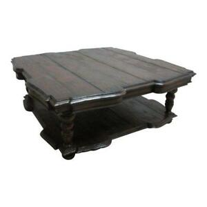 Huge Jonathan Charles Old World Distressed Coffee Center Serving Table