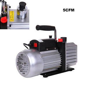Electric 5 Cfm Rotary Vane Vacuum Pump Hvac R134a Air Refrigerant Conditioning