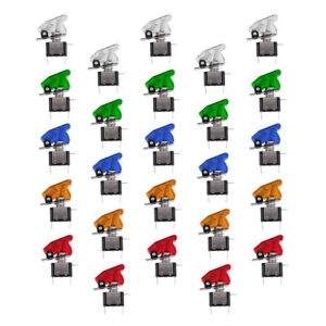 25pcs 12v 20a Led Rocker Toggle Switch With Cover Spst On off Car Boat Atv