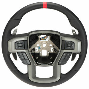Oem New Steering Wheel W Controls Leather Red Accent 17 18 Raptor Hl3z3600aa