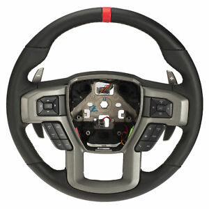 Oem New Steering Wheel W Heat Black Leather Red Accent 17 18 Raptor Hl3z3600ca