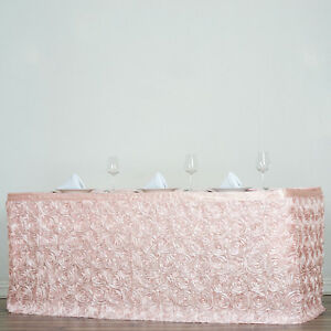 21 Blush Satin Roses Table Skirt Tradeshow Wedding Party Catering Supplies