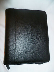 Franklin Planner Black Binder Classic Top Grain Leather Pebbled Zipper Organizer