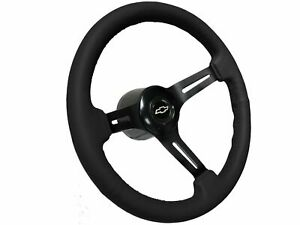 1969 1989 Chevy S6 Black Leather Steering Wheel Covert Kit Silver Bow Tie