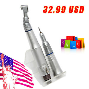 Nsk Style Dental Low Speed Contra Angle Straight Air Motor Handpiece Kit 4h Zh y