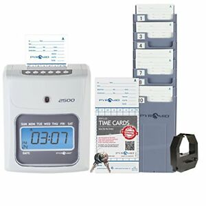 Pyramid 2500 Time Clock Bundle With 100 Time Cards Card Rack And Ribbon No E