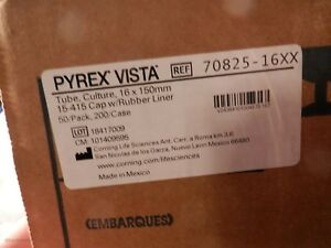 Pyrex Vista 70825 20 Culture Tube 16x150mm W Cap Box Of 50
