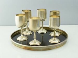 Vintage Sterling Silver 6 Bladwin Miller Cordial Cups Goblets W Gorham Tray