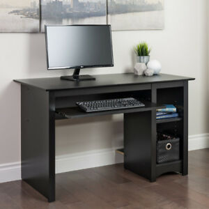 Home Office Writing Computer Wooden Desk Pull Out Keyboard Tray Shelves Black