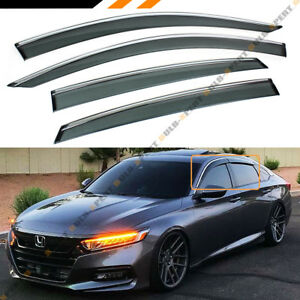 For 2018 2019 10th Gen Honda Accord Clip On Chrome Trim Window Visor Rain Guard