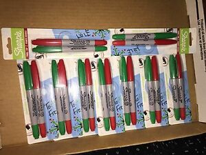Sharpie Twin tip Permanent Markers Fine ultra Fine Green Red Ink Lot Of 9