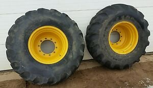 Good Year 21l 24 Tires On 10 Hole John Deere Loader Backhoe Wheels