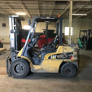2012 Cat P6000 Pneumatic Lp Triple Stage Forklift With Side Shift