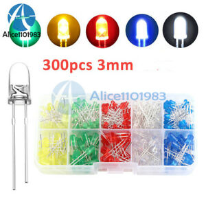 300pcs 3mm Round Led Light White yellow red blue green Assortment Diodes Kit