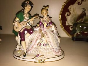 Two Sitzendorf And Frankenthal Figurines Man Woman Music Themed Guitar Flute