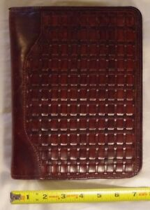 Franklin Covey Classic Leather Weave Planner Brown Open Binder Organizer 7 Ring