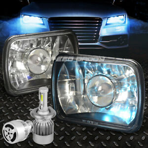 Square Black Projector Headlight White Led H4 Hid W Fan For 7 7x6 Diamond Cut