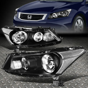 For 2008 2012 Honda Accord Sedan Pair Black Housing Clear Corner Headlight Lamp