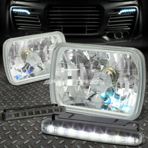 Clear Square Diamond Projector Headlight 8 Led Smoke Fog Light For 7x6 H6054