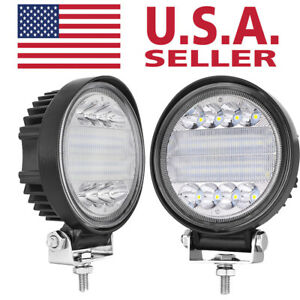 2x 5 in 144w Round Led Work Light Spot Flood Driving Head Light Offroad Jeep 12v