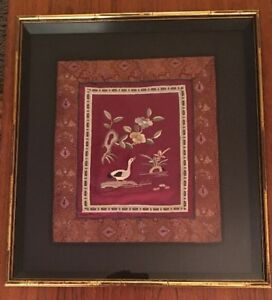 Vintage Chinese Silk Embroidery Panel Duck Flowers In Shadow Box Frame