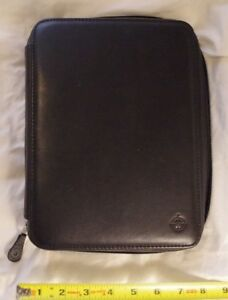 Franklin Covey Classic sized Black Nappa Leather Binder Planner Removable Rings