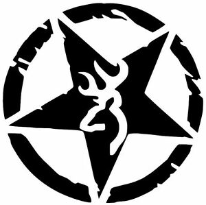 Browning Decal Deer Hunting Buck Doe Whitetail Star Decal Vinyl Sticker Jeep