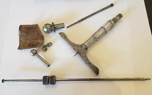 Starrett Depth Micrometer 4 Base With Ball Attachment And Extra Rod