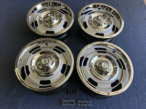 1967 Set Of 4 gm Original14x6 Dg Rally Wheels Ss Camaro nova chevelle With Trim
