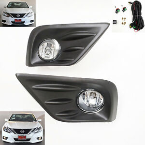 For 2016 2018 Nissan Altima Clear Lens Fog Light Kit With Bezel Wire Switch Bulb