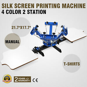 4 Color 2 Station Silk Screen Printing Machine Manual Printing Cutting