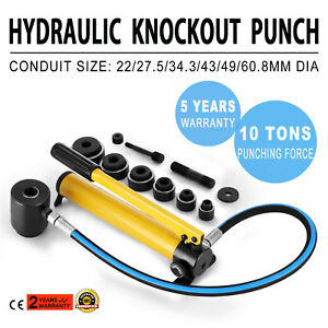 Set 10 Ton 6 Die W case Hydraulic Knockout Punch 1 2 To 2 Pump Portable