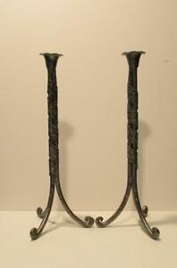 Pair Of Arts Crafts Pewter Tall Candlestick Holders With An Art Nouveau Wrap