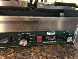 Waring Wpg300t Panini Ottimo Grooved Top Bottom Panini sandwich Grill W timer