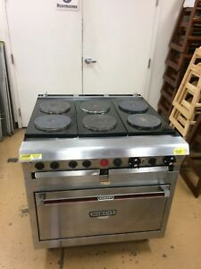 Hobart Hcr43 Electric 6 Burner Commercial Range W Oven 240v 1ph French Burners