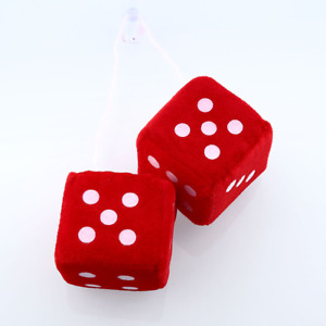 Pair Red Fuzzy Dice Dots Rear Mirror Hangers Vintage Car Auto Accessories