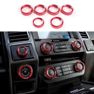 Red For Ford F150 2016 2018 Air Conditioner Audio Switch Decor Ring Cover Trim