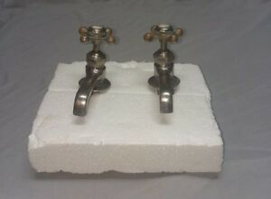 Antique Nickel Brass Separate Hot Cold Sink Faucet Plumbing Vtg 140 18f