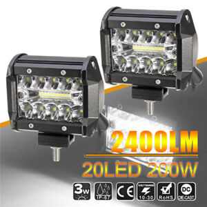 4 Led Work Light Bar Flood Spot Combo Off Road Driving Fog Lamp Truck Boat Suv