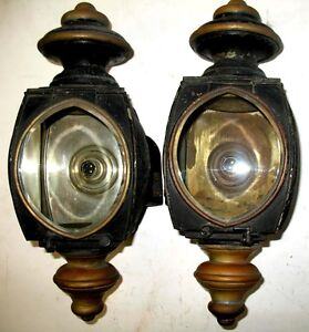 Pair Early Rauch Lang Electric Car Side Lamps