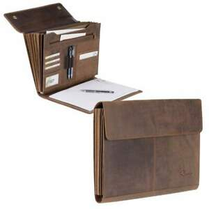 Fan Solution A4 Leather 7 Compartments Anwaltsmappe Briefcase Folder Conference