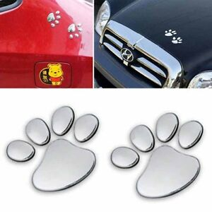 2pcs Animal Car Stickers Dog Pet Paw Foot Print Auto Emblem Badge Decal Silver