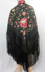 Great Antique Silk Piano Shawl Colorful Embroidery Flowers 50 X 53 20 Fringe